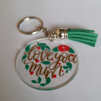 Cute Acrylic Keyring for Mum, Flowers in a heart shape, Love you Mum