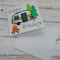 Happy Holidays, Cute Camping Greeting Card, Holiday Lovers Card