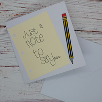 Simple blank notecard, card featuring notepaper and pencil, just to say