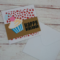 Happy Birthday Cupcake Card, Patterned Banner Cupcake Card