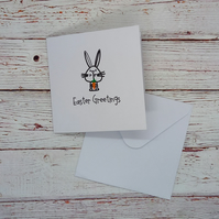 Easter Greetings, Hand-drawn Easter Card, Easter Bunny Card