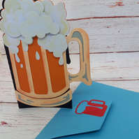Beer Tankard Birthday Card, Greetings Card for beer lover, Handmade card for him