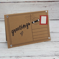 Greetings Card - Blank Handmade Notelet - Postcard Style, just because card