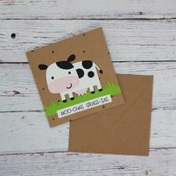 Moo-chas Grass-ias - Funny Hand-made Cow Thank-you Card, Joke thank-you card