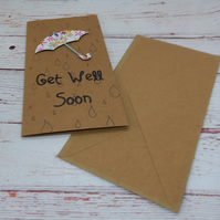 Rainy Day - Handmade Get Well Soon Card, Best Wishes, Card to brighten rainy day