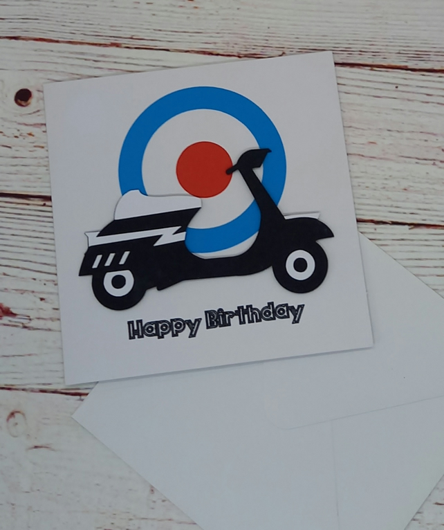 Happy Birthday, Mod Scooter Birthday Card, Handmade Mod Card