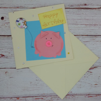 Birthday Card - Cute Porky Pig Happy Birthday Card, Button nose Pig Card