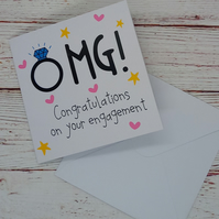 Congratulations Card, OMG you're Engaged?!, Funny Diamond Ring Engagement Card
