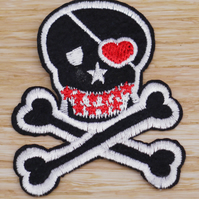 Skull and cross bone embroidered sew-on embellishment