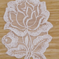 Light White Rose pair embroidered sew-on embellishment