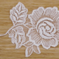 Heavier White Rose pair embroidered sew-on embellishment