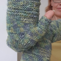 Hand knitted mittens Women fingerless gloves Lamb wool green long knit mittens