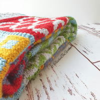 Hand knitted blanket, Square patchwork bedspread, Kids room decor, Bed throw