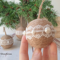 SALE Christmas tree ornaments, Jute twine balls, Set of 3, Handcrafted decor