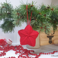 Hand knitted star, Christmas tree ornament, Winter home decorations