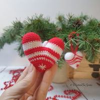 Hand crochet heart, Christmas tree ornaments, Winter home decorations, Set of 2