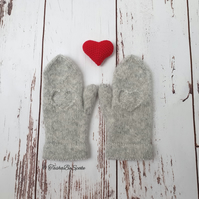 Knitted alpaca women mittens Winter luxury mittens Christmas gift for women