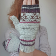 Hand knitted mismatched mittens, Fingerless women gloves, Hand warmers