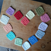 Eco friendly reusable crochet face scrubbies, 100% cotton, makeup removal pads,