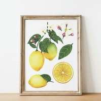 A4 lemon watercolour art print