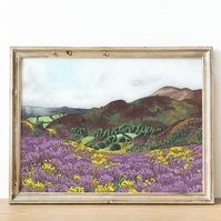 A4 heather hills watercolour landscape art print
