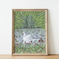 A4 swan on lake watercolour art print