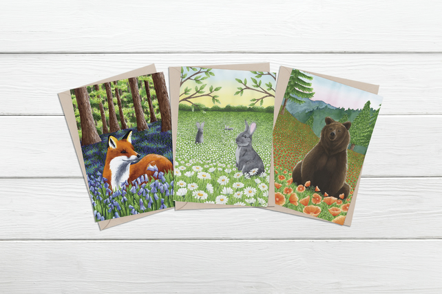 Fox, Rabbit and bear scenic all occasions card pack