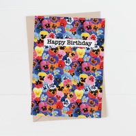 Pansy happy birthday floral card