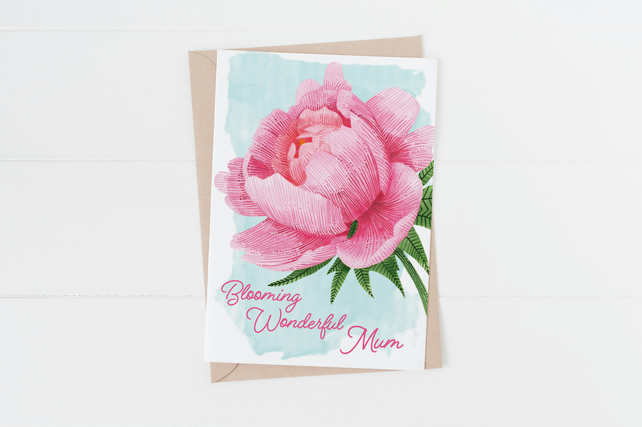 Pink Peony mother's day card
