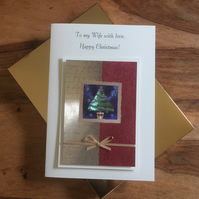 Boxed Christmas Card for Wife or Husband Cream Gold & Red Christmas Tree Design
