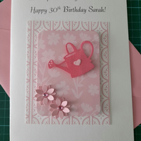 Personalised Birthday Card Pink Floral Watering Can 16th 18th 21st 30th 50th 60