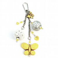 Handbag charm - yellow butterflies.