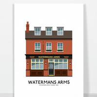 WATERMANS ARMS, RICHMOND UPON,THAMES, A4 Print