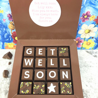 Personalised Message GET WELL SOON Chocolate Gift