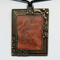 Abstract framed art pendant