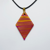 Polymer clay diamond pendant