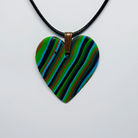 Polymer clay heart pendant