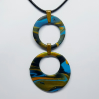 Double loop marble pendant