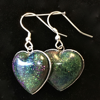 Aurora heart dangly and stud earrings.