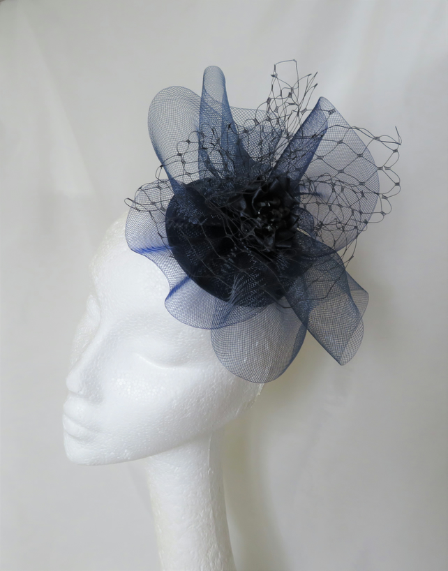 Dark Navy Blue Crinoline Bow & Crystal Cocktail Wedding Fascinator Mini Hat
