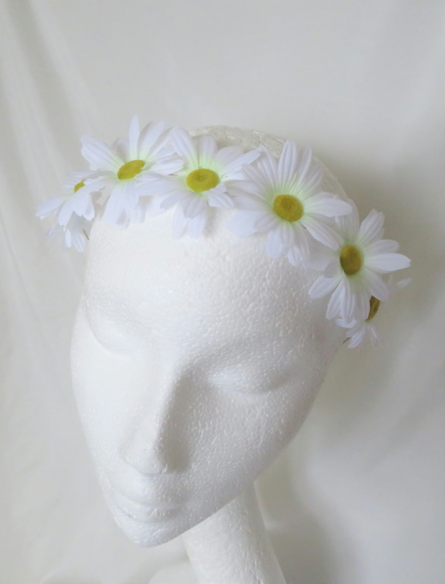 Dainty White Daisy Flower Crown Retro Vintage Boho Floral Hair Headband