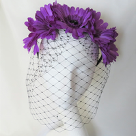 Ultraviolet Purple Daisy & Black Veil Flower Crown Retro Headband Gothic