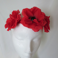 Red Rose & Black Flower Crown Retro Vintage Boho Floral Girls Hair Headband