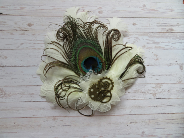 Ivory Peacock Feather with Brass Cogs & Gears Steampunk Bridal Hair Clip