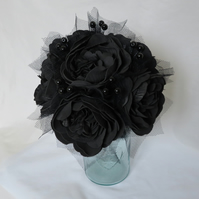 Black Peony Flower Bouquet with Tulle & Lace Gothic Brides Vintage Wedding