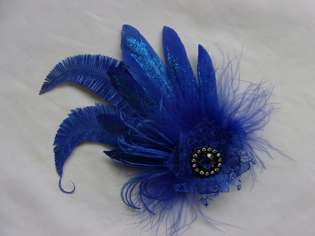 Royal Cobalt Blue Glitter Feather & Crystal Fascinator Hairclip
