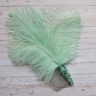 Pale Mint Aqua Bridgerton Regency Inspired Feather Beaded Hair Comb