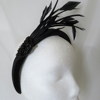 Black Vintage Style Padded Velvet Headband With Coque Feathers Beads & Sequins