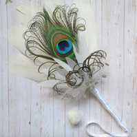 Ivory White Peacock Feather & Gemstone Wedding Bridal Fan or Smudging Fan Wand