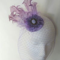 Antique Lilac Vintage Style Feather Clip In Blusher Birdcage Veil